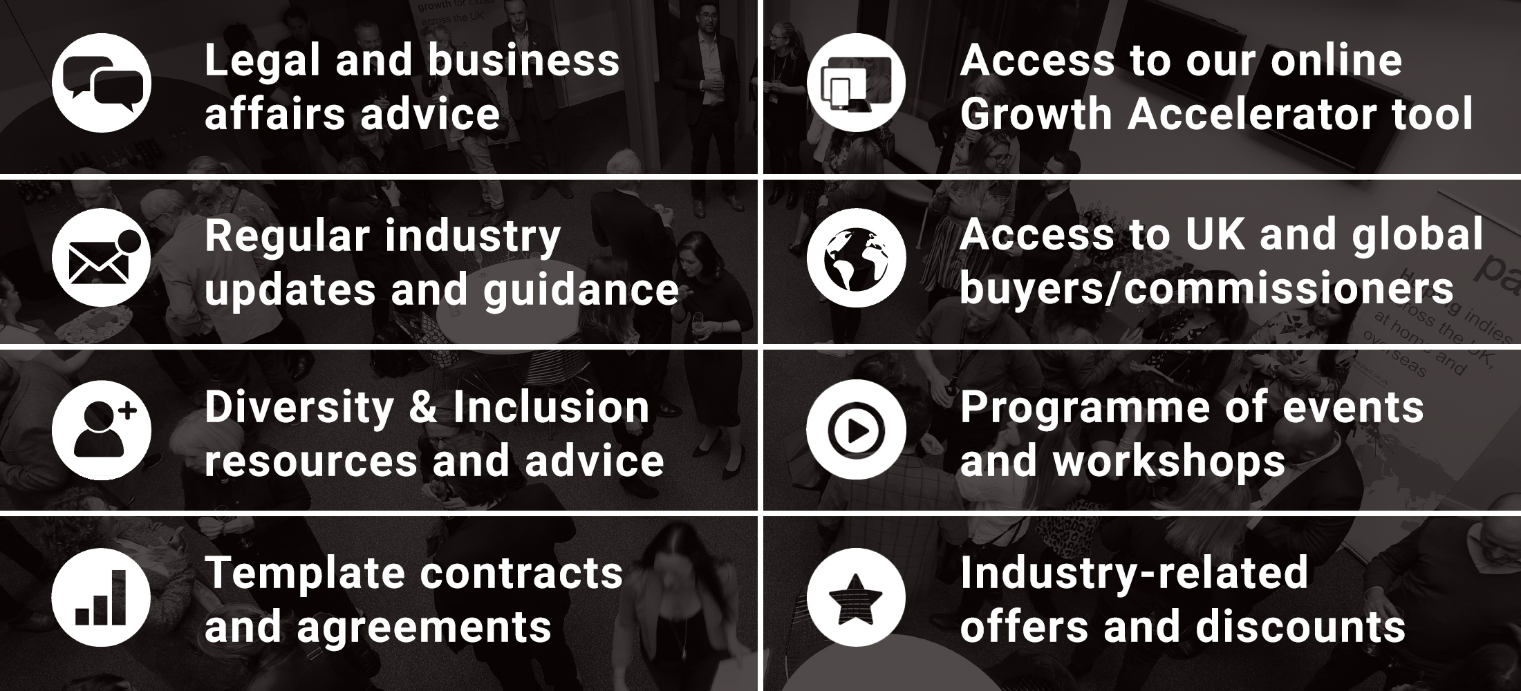 Legal and Business Affairs advice, access to our online Growth Accelerator tool, regular industry updates and guidance, Access to UK and global buyers and commissioners,  and more