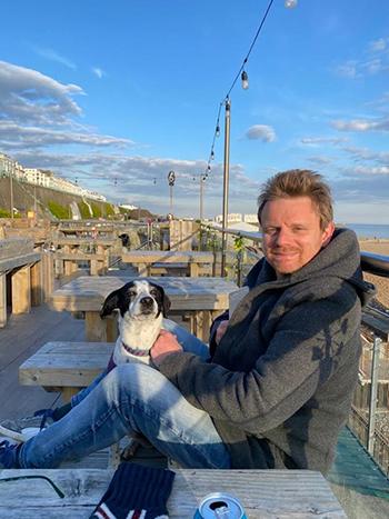 Headshot: Gareth Strachan and his dog, Pimms