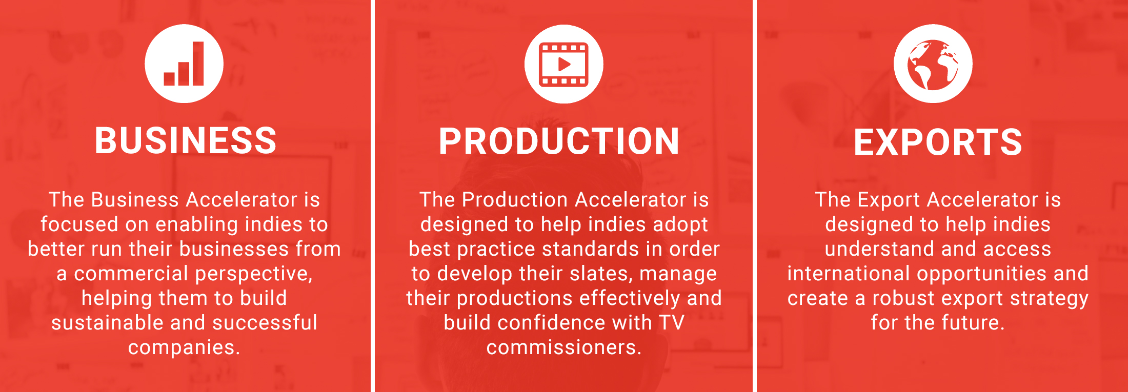 Accelerator 3 key areas: Business, Production and Exports