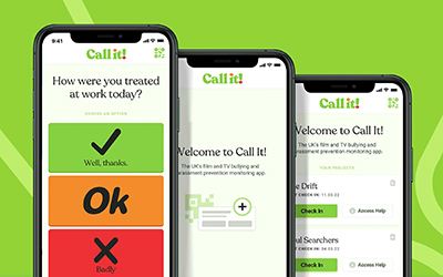 Image: Call It app promo image – phone screens with the app open on them