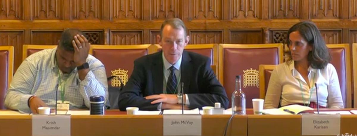 Image of John McVay giving evidence.